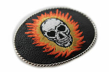 Fashion Black Leather Skeleton Skull Fire New Men Women Belt Buckle Silver Metal