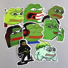 8 pcs Pepe the Frog Decal Stickers Lot - Internet Meme Art Design Car Sticker#