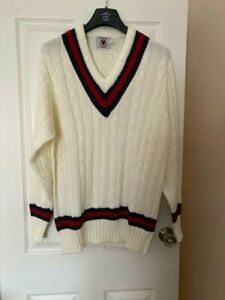 """Mens County cricket jumper cable knit cream, navy and red, XL UK size 44"""""""