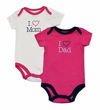 """Luvable Friends Baby Girls 2-Pack """"I Love"""" Bodysuits (9-12M, Assorted)"""