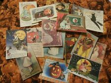 Set of 16 Vintage/Prim look Halloween labels/ vintage postcard images