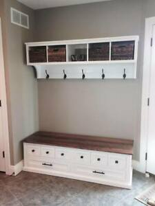 Shoe Bench and Coat Rack Unit , Hallway , Mudroom , Entryway Furniture Bench Set