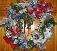 Holiday Wreath Red Blue Poinsettia Silver Accent Indoor Outdoor Christmas Bells