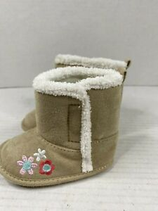 Carter's Child of Mine Girl's Faux Suede Tan Ankle Boots with Flowers 3-6 Month