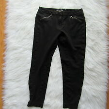 Adrianna Papell Crop Pants Size 36 Solid Black Capri Stretch Side Zip Comfort