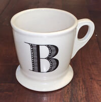 Anthropologie Letter B Initial Coffee Mug White Black Retro Shaving Cup Monogram