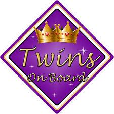 Non Personalizzato Bambino/Bambino a bordo auto sign ~ TWINS On Board ~ Viola