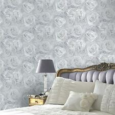 REVERIE ROSE WALLPAPER SILVER - ARTHOUSE 623303 FLORAL FLOWERS