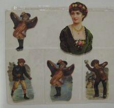 Vintage Victorian Die Cut Scraps CHILDREN ICE SKATING LADY Embossed Paper Lot #9