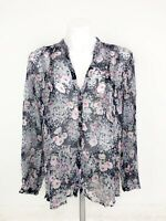 Joie Women's Gray Pink Blue Purple Multi Color Floral Silk Long Sleeve Top Large
