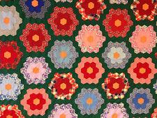 GRANDMOTHER'S FLOWER GARDEN VINTAGE QUILT TOP ~ RED GREEN BLUE FEEDSACK 64x74