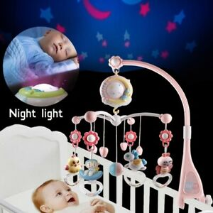 Baby Rattles Crib Mobiles Toy Holder Rotating Mobile Bed Bell Musical Projection