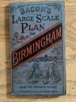 c.1890 Large Birmingham Cloth Backed Folding Map by G.W. Bacon 65 cm x 48 cm