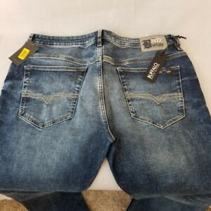 Neuf Buffalo David Bitton Jeans Evan-X Droit Slim Extensible Chiffonné & Poncé