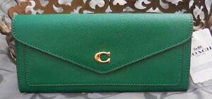 COACH ~Crossgrain Leather WYN Soft Envelope Wallet~C2326~GREEN~NWT $150