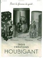 Publicité ancienne parfums Houbigant 1937 issue du magazine