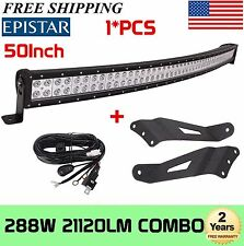 50inch 288W Curved LED Light Bar+Wiring kit+Roof Mounting Brackets For Chevy GMC