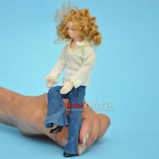"Teenager in Jeans Porcelain doll 5.5""H  dollhouse miniature 1:12 scale"