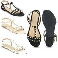 Womens Branded 100% Vegan Flat Sole Strappy Comfy Summer Peep Toe Sandals Size