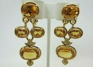 Vintage 18K Yellow Gold Citrine and Diamond Earrings 15.24 CT TW Dangle