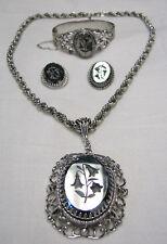 Vintage Whiting & Davis Hematite Lot Flower Pendant Necklace Bracelet Earrings