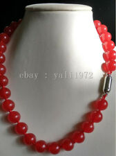 AAA 10MM natural red jade necklace 18inch magnet clasp LL001