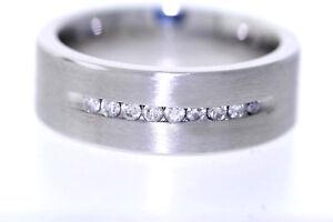 Men's Triton Cobalt .25ctw Round Diamond 8mm Comfort Fit Band Ring