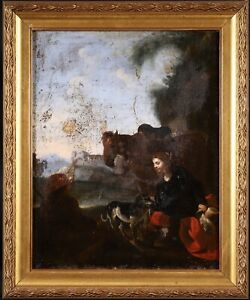17th CENTURY DUTCH OLD MASTER OIL ON CANVAS - FIGURES LANDSCAPE - TO RESTORE