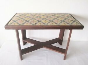Vintage Rustic Stool Tapestry Needlepoint Bench
