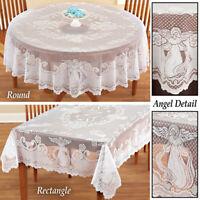 Vintage Weiß Spitze Rund Tischdecke Bestickt Deckchen Party Hochzeit Weihnachten