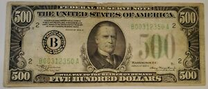1934-A $500 Federal Reserve Note FRN Bill, New York, in VF Condition