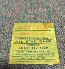 1939 MLB All Star Game Ticket Stub New York Yankees