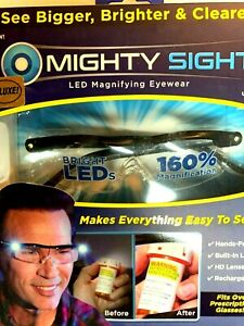 Mighty Sight Magnifying Glasses with LED Light & Travel Case