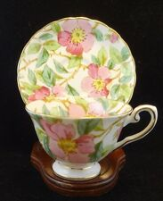VINTAGE PINK DOGWOOD FLORAL CHINTZ  TUSCAN TEACUP SAUCER HAND PAINTED