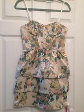 Women's Alice + Olivia Bustier Tiered Floral Strapless Dress, Size 0