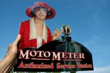RARE BOYCE MOTO METER RESTORATION 2 SIDE FLANGE THICK STEEL SIGN MINT USA MADE