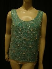 50s VINTAGE SEXY GREEN PEARL & SEQUIN SPARKLER TOP M-L