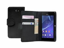 Wallet BLACK Flip Leather Case Cover Pouch for Sony Xperia M2 LTE D2303 experia