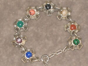 Vintage Arts and Crafts style bracelet with multi coloured glass stones