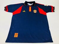 Vintage Spain National Team Soccer Navy Adidas Jersey Mens World Cup LARGE