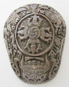 TIBETAN KAPALA SKULL BOWL CARVED ORIGINAL antique