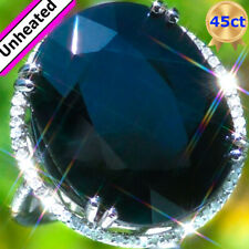 14k Gold 45.28ct UNHEATED Blue Sapphire Diamond ESTATE Vintage Engagement Ring ↩
