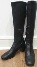 PRADA Black Leather Square Toe Stretch Shaft Block Heel Knee High Boots 39 UK6