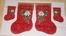 Red Christmas Stocking White Poinsettia International Textile Fabric Panel