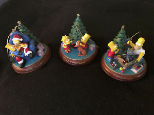 Simpsons Christmas ornaments, Set of 3 W/ Bradford Certificate of Authenticity