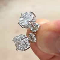 2.00 Ct Princess Cut Diamond Screw Back Stud Earrings 14K White Gold Over
