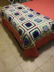"Throw Blanket Befspread Crocheted Afghan Knit Purple Rose Flower 72""x72"""