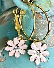 Beautiful Pale Pink Flowers with Rhinestones and Gold Trim Dangle Hoop Earrings.