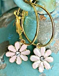 Vintage Pink Ombr\u00e9 Enamel Hoop Earrings