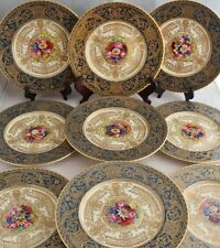 ROYAL WORCESTER HAND PAINTED LUNCHEON GOLD ENCRUST PLATE SET SIGNED W.H. AUSTIN